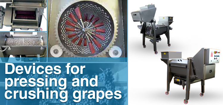 Devices for pressing and crushing grapes